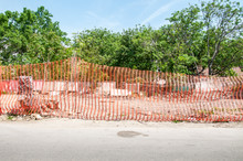 Orange Construction Site Barrier Or Fence Net To Protect Working Place