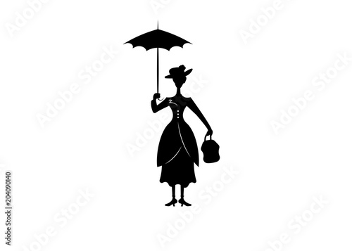 Silhouette girl floats with umbrella in his hand, vector isolated or white backg Wallpaper Mural