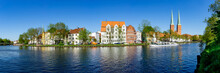 Lübeck, Dom District In Early Summer With River Trave And Excursion Boat