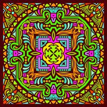 Colorful Mandala Art Beautiful Sacred Creative Circle Pop Art Frame Geometric Symmetry Ornament Background