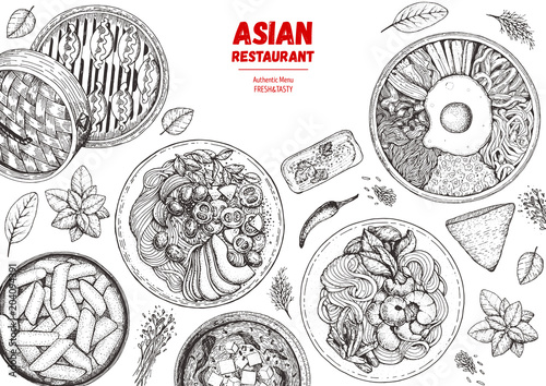 Asian Cuisine Sketch Collection Hand Drawn Vector Il Ration Food Menu Design Template Engraved