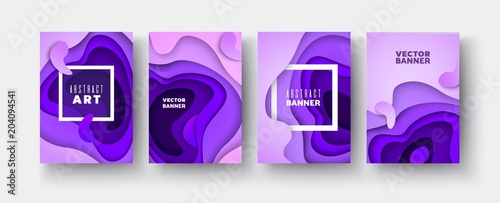 3d violet layers of wave shapes Paper cut Abstract background Set Canvas Print