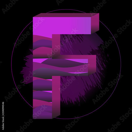 Modern Abstract Colorful Alphabet. Letter F. Decoration Element for  Birthday or Greeting Design. 5513a4215188