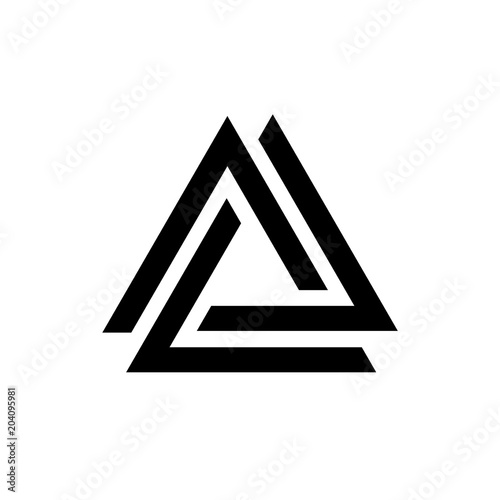 Fotomural Linked triangles black and white geometric abstract logo, vector