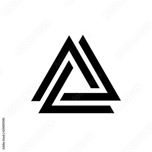 Linked triangles black and white geometric abstract logo, vector Billede på lærred