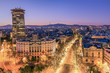 City skyline and Rambla pedestrian mall, Barcelona, Catalonia, Spain