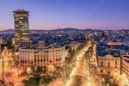 City skyline and Rambla pedestrian mall, Barcelona, Catalonia, Spain Poster