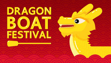 Yellow Dragon Boat Festival On Red Abstract Background.