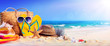 Leinwandbild Motiv Beach Accessories On Seashore - Summer Holidays