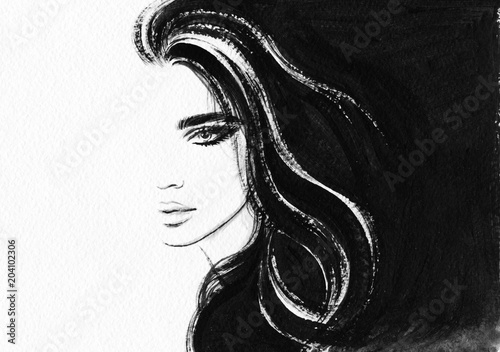 Fototapeta beautiful woman. fashion illustration. watercolor painting obraz