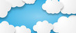 Leinwanddruck Bild - Illustration of a beautiful fluffy empty clouds on a blue background