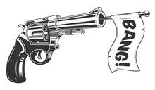 A Gun With A Bang Flag