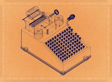 Adding Machine - Retro Blueprint