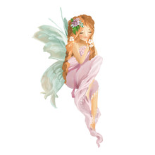 Beautiful Hand Painted Oil Fairy With Floral Bouquet, Flowers Wreath Isolated On White