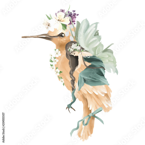 Beautiful hand painted oil fairy riding the enchanted bird with floral bouquet, flowers wreath isolated on white