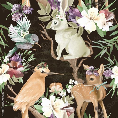 piekne-vintage-zaczarowane-lasy-zwierzeta-lesne-i-ptaki-z-kwiatami-stare-galezie-i-luki-bez-szwu-taflowy-wzor-jelen
