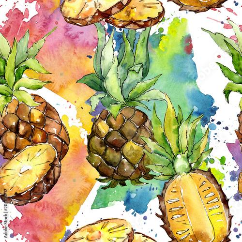 egzotyczny-ananasowy-zdrowy-jedzenie-w-akwarela-stylu-wzorze-pelna-nazwa-owocu-ananas-aquarelle-dzikie-owoce-na-tle-tekstury-wzor-opakowania