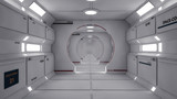 Fototapeta Do przedpokoju - 3D Render. Futuristic spaceship interior corridor