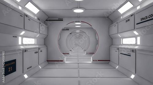 Cuadros en Lienzo 3D Render. Futuristic spaceship interior corridor