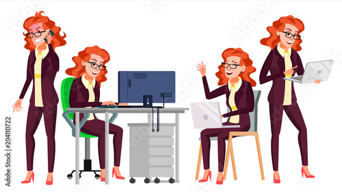 In de dag Kinderkamer Office Worker Vector. Woman. Happy Clerk, Servant, Employee. Business Woman Person. Lady Face Emotions, Various Gestures. Flat Character Illustration