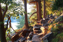 Beautiful Wisconsin Summer Nature Background. Ice Age Hiking Trail And Stone Stairs In Sunlight During Sunset Hours. Devil'•s Lake State Park, Baraboo Area, Wisconsin, Midwest USA.
