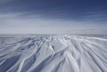 Beautiful Patterns Of Sastrugi, Parallel Wavelike Ridges Caused By Winds On Surface Of Hard Snow, With Soft Clouds In The Sky, Near Arviat Nunavut Canada