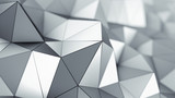 Metalic low poly surface 3D rendering