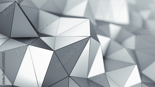 Metalic low poly surface 3D rendering - 204120525
