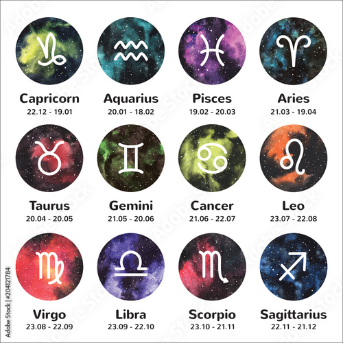 Set of simple stroke zodiac, horoscope signs with names and dates on