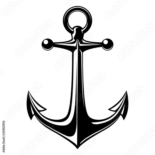 Fotografiet Vector illustration, monochrome sea anchor icon isolated on white background