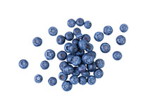 Heap Of Blueberries, Fresh Juisy Berries, Isolated On White Background, Top View