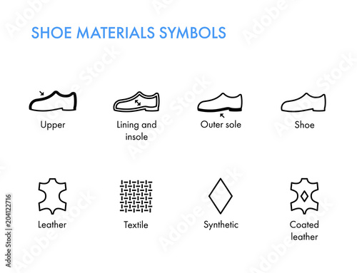 Shoes Materials Symbols Footwear Labels Shoes Properties Glyph