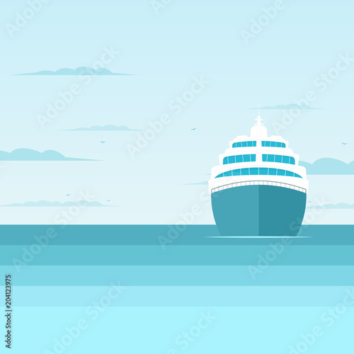 cruise liner in the sea, front view Poster Mural XXL