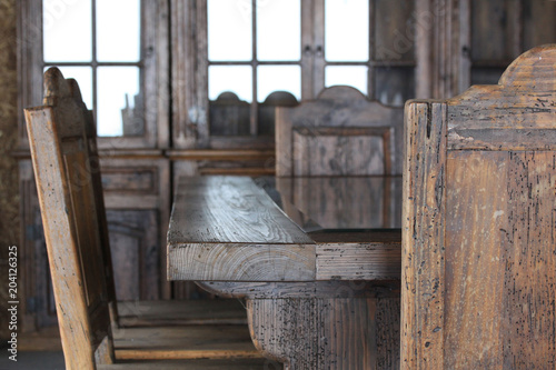 comedor de madera antiguo - Buy this stock photo and explore similar ...