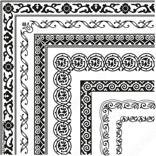 Border, lines ornamental vinage set with corner Wall mural