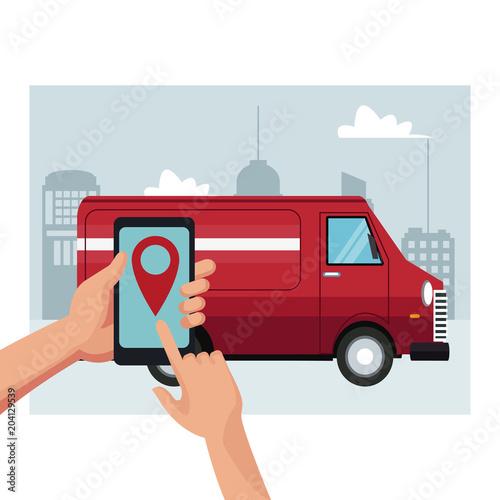 Papiers peints Restaurant Delivery van truck service vector illustration graphic design