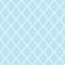 Seamless Blue Damask Pattern. Vector Illustration