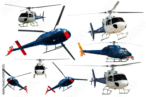 Tuinposter Helicopter Helicopters set isolated