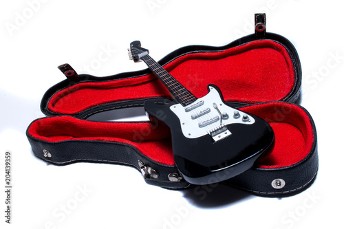 Photo  electric guitar on white background