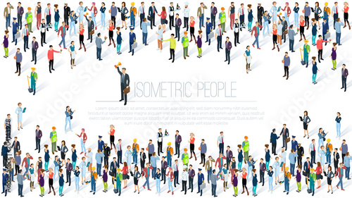 Isometric People crowd. Poster Mural XXL