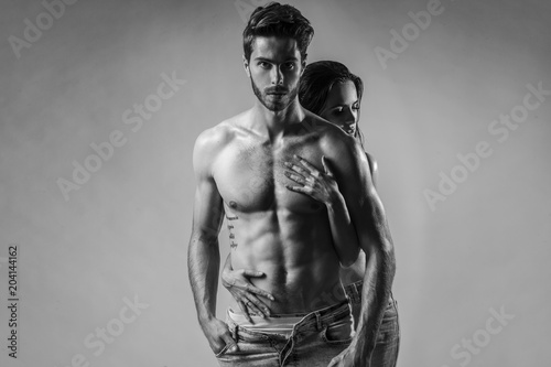 Fotografie, Obraz  Shooting of young, intimate couple with great bodies.