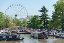 Major Crowd Gathering Around Ferris Wheel And Canal Boats For River Festival In England