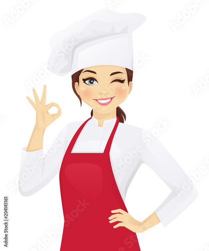 Fototapeta Confident chef woman gesturing ok sign vector illustration obraz