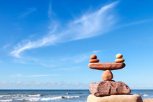 Concept Of Life Balance And Harmony. Balance Stones Against The Sea.