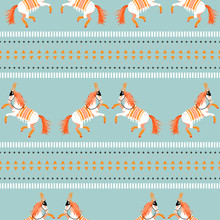 Circus Horse Tribal Seamless Vector Blue Pattern. White Carousel Horses Performance.