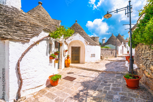 Trulli of Alberobello typical houses. Apulia, Italy. Canvas Print