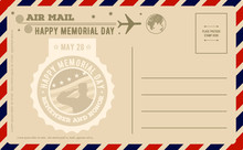 Vintage Happy Memorial Day Postcard. Vector Illustration.