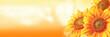 Leinwandbild Motiv Wunderschöne Sonnenblume mit einer Biene