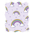 abstract frame with rainbow and clouds pattern over white background, vector illustration