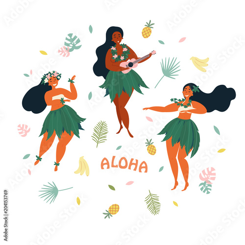 Three hawaiian girls are dancing and playing ukulele guitar aloha three hawaiian girls are dancing and playing ukulele guitar aloha text greeting card m4hsunfo